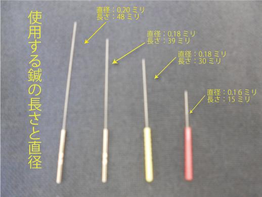 使用する鍼の直径と長さ